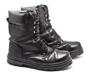 wojska czarny butów skóra Fotografia Royalty Free