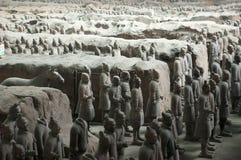 wojska porcelanowych koni żołnierzy terakotowa podróż Xian Obraz Royalty Free