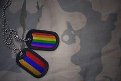 wojska puste miejsce, psia etykietka z flaga Armenia i homoseksualna tęcza, zaznaczamy na khakim tekstury tle Fotografia Royalty Free