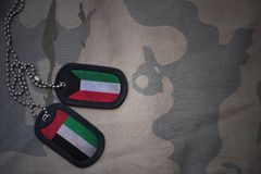 wojska puste miejsce, psia etykietka z flaga Kuwait i zlani arabscy emiraty na khakim tekstury tle, Zdjęcie Stock