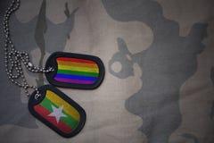 wojska puste miejsce, psia etykietka z flaga Myanmar i homoseksualna tęcza, zaznaczamy na khakim tekstury tle Zdjęcia Stock