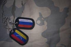 wojska puste miejsce, psia etykietka z flaga Russia i Venezuela na khakim tekstury tle, Zdjęcie Stock