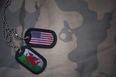 wojska puste miejsce, psia etykietka z flaga zlani stany America i Wales na khakim tekstury tle, Zdjęcia Royalty Free