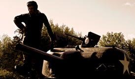 Wojska USA Sherman cysternowa wojna światowa 2 Normandy 2015 Zdjęcia Royalty Free