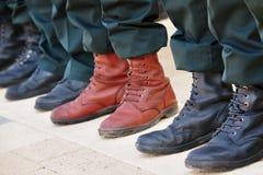 wojsko buty tłoczą się stojak stojaka Zdjęcia Royalty Free