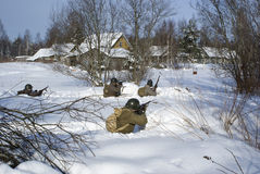 wojsko czerwień strzela żołnierzy Obraz Royalty Free