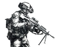 Wojsko leśniczego ręka rysujący obrazek royalty ilustracja