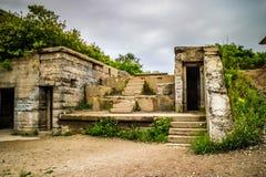 Wojsko ruiny fortu Williams przylądek Elizabeth, Maine fotografia stock