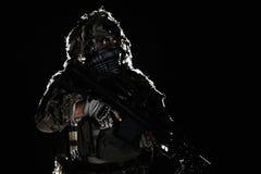 Wojsko snajper z malującą twarzą Zdjęcia Royalty Free