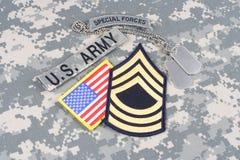 WOJSKO USA jednostek specjalnych insygnia na kamuflażu mundurze Zdjęcie Royalty Free