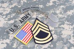 WOJSKO USA jednostek specjalnych insygnia na kamuflażu mundurze Obrazy Stock