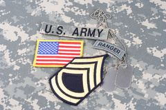 WOJSKO USA leśniczego insygnia na kamuflażu mundurze Obraz Royalty Free