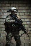 wojsko USA leśniczy z z karabinu maszynowego fotografia royalty free