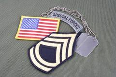 WOJSKO USA sierżanta pierwszej klasy wybujała łata, powietrzna zakładka, flaga łata i psia etykietka na oliwnej zieleni unif, Fotografia Stock