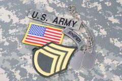 WOJSKO USA snajperska insygnia na kamuflażu mundurze Obraz Royalty Free