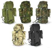 Wojskowego lub przetrwania myśliwych plecaki ustawiający Zdjęcie Stock