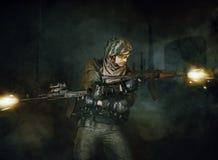 Wojskowego żołnierza strzelanina Zdjęcia Stock