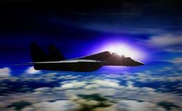 Wojskowego płaski latanie podczas wschodu słońca z plama ruchem Obraz Stock