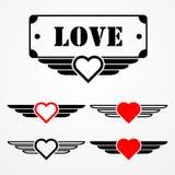 Wojskowego stylu miłości emblematy Obrazy Stock
