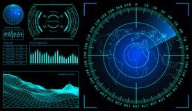 Wojskowego zielony radar Wireframe krajobraz Ekran z celem Futurystyczny Hud interfejs projekta ilustraci zapasu use wektor twój Obrazy Stock