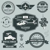 Wojskowy etykietki ustalony szablon emblemata element dla Fotografia Stock