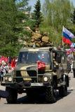 Wojskowy GAZ z aktorami w postaci Wielkiej Patriotycznej wojny Obraz Royalty Free