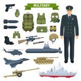 Wojskowy z bronią, osobistego wyposażenia ikona ilustracji
