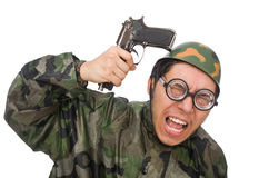 Wojskowy z pistoletem odizolowywającym na bielu Obrazy Royalty Free