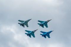 Wojskowych lotniczy wojownicy Su-27 Zdjęcia Royalty Free