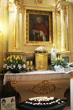 Wojtyla relic. A relic of the pope john paul II inside the main church of his town at wadowice in poland stock images