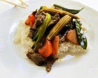 Wok - τηγανισμένη μπριζόλα σημείου του βόειου κρέατος στοκ εικόνες