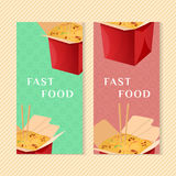Wok banners. Fast food banners with wok. Graphic design elements for menu packaging, apps, website, advertising, poster, brochure and background. Vector Stock Images
