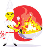 Wok Chef. Cartoon of an asian chef with a fiery wok Stock Images