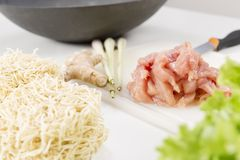 Wok with Chicken, Vegetables and Noodles Stock Images