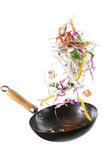 Wok com vegetais e camarão Imagem de Stock