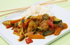 Wok food Asia. With carrots, pumpkin, chicken, germs, paprika and rice Royalty Free Stock Photo