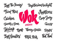 Wok food lettering. Wok lettering menu. Chinese box and chopsticks with noodles, vegetables and beef. Hand drawn detailed fast asian food letters. Great for Royalty Free Stock Images