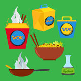 Wok food set. Asian and chinese food. Vector flat style. Wok food set. Asian and chinese food. Logo design elements - cafe and restaurant delivery illustrations Royalty Free Stock Images
