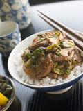 Wok Fried Pork and Ginger Cabbage on Rice Royalty Free Stock Photo