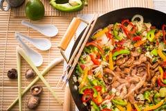 Wok frying pan. A fresh and tast Wok frying pan Stock Photography