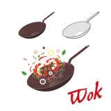 Wok illustration. Asian frying pan. Concept illustration for restaurant Stock Image