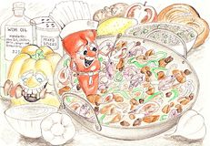 Wok Ingredients. Pencil sketch of a wok and other spicey food ingredients Stock Image