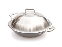 Wok with lid. On white with clipping path stock photo