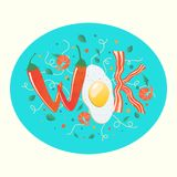 Wok logo for thai or chinese restaurant. Stir fry with edible letters. Cooking process vector illustration. Flipping Asian food. In a pan. Cartoon style stock illustration