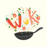 Wok logo for thai or chinese restaurant. Stir fry with edible letters. Cooking process vector illustration. Flipping Asian food. In a pan. Cartoon style royalty free illustration