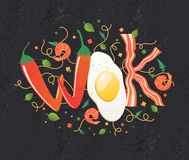 Wok logo for thai or chinese restaurant. Stir fry with edible letters. Cooking process vector illustration. Royalty Free Stock Photography