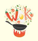 Wok logo for thai or chinese restaurant. Stir fry with edible letters. Cooking process vector illustration. Royalty Free Stock Image