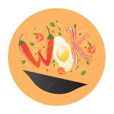 Wok logo for thai or chinese restaurant. Stir fry with edible letters. Cooking process vector illustration. Stock Images