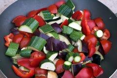 Wok met groenten stock afbeelding