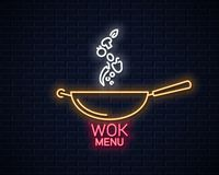 Wok neon banner. Frying pan cooking menu. On wall background 10 eps vector illustration